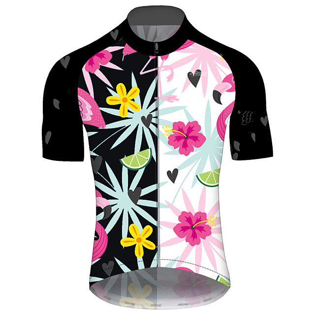 21Grams Men's Short Sleeve Cycling Jersey Spandex Polyester Black / White Bike Jersey Top Mountain Bike MTB Road Bike Cycling UV Resistant Breathable Quick Dry Sports Clothing Apparel / Stretchy