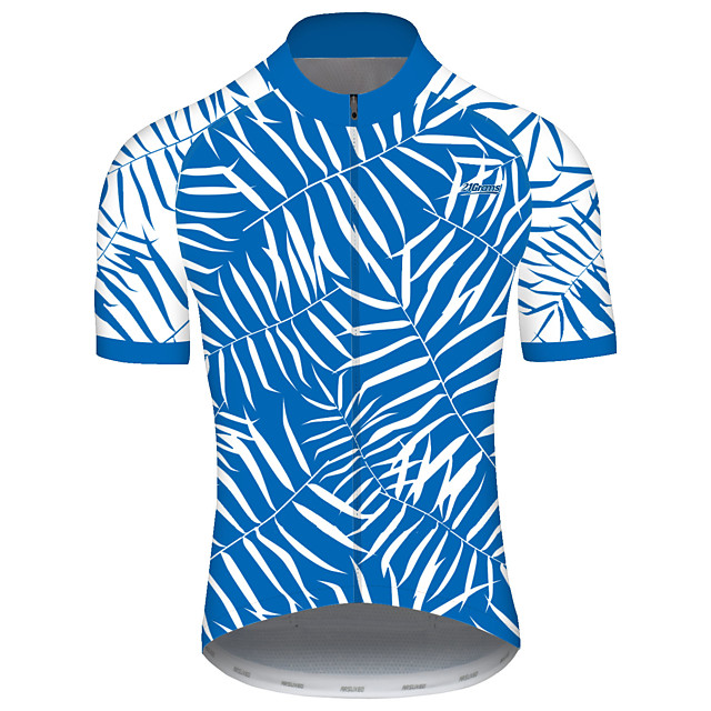 21Grams Men's Short Sleeve Cycling Jersey Spandex Polyester Blue / White Novelty Bike Jersey Top Mountain Bike MTB Road Bike Cycling UV Resistant Breathable Quick Dry Sports Clothing Apparel