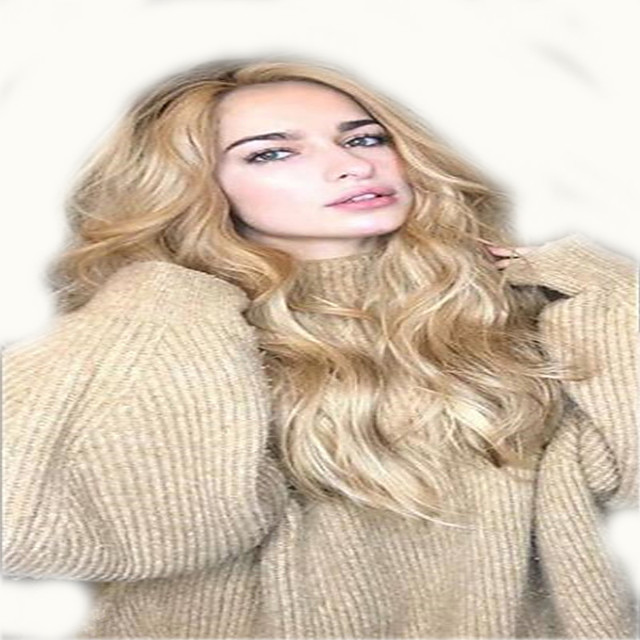 Synthetic Wig Curly Middle Part Wig Long Light golden Synthetic Hair 18 inch Women's Fashionable Design Women Middle Part Blonde
