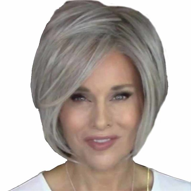 Synthetic Wig Natural Straight Short Bob Wig Short Grey Synthetic Hair 14 inch Women's Women Easy dressing Fluffy White