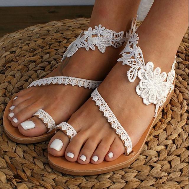 Žene Sandale Plaža Boho Bohemia Ravna potpetica Otvoreno toe Vjenčane sandale Vjenčanje Dnevno Plaža Čipka PU Čipka Obala