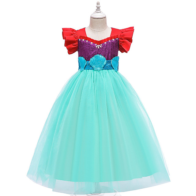 The Little Mermaid Princess Dress Flower Girl Dress Girls' Movie Cosplay A-Line Slip Blue Dress Children's Day Masquerade Satin / Tulle Sequin