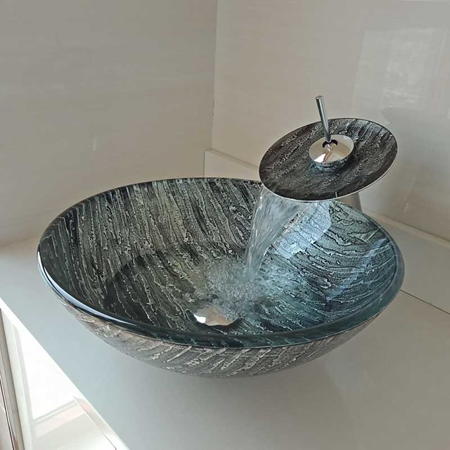 Round Carved Bark Tempered Glass Vessel Sink with Waterfall Faucet Pop - Up Drain and Mounting Ring