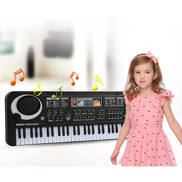 Electronic Keyboard Microphone Piano Works with iPad, iPod touch, and iPhone. Education Multi-Function 61 Key Plastics Unisex Boys' Girls' Kids Children's 1 pcs Graduation Gifts Toy Gift