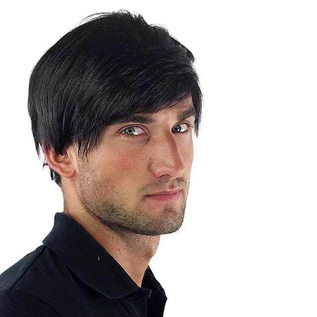 Парики из искусственных волос Естественный прямой С чёлкой Парик Короткие Черный Искусственные волосы 6 дюймовый Муж. Новый дизайн Легко туалетный Круто Черный