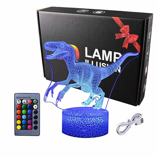 Dinosaur 3D Night Light Table Desk Lamp Elstey 7 Colors Optical Illusion Touch Control Lights with Acrylic Flat & ABS Base & USB Cable for Christmas Gift