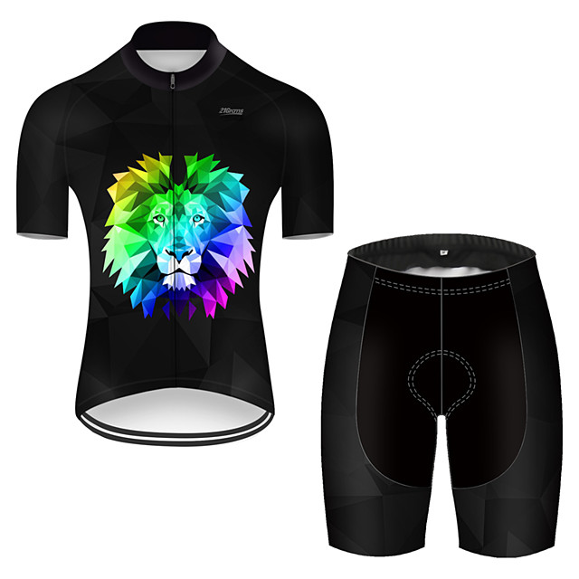 21Grams Men's Short Sleeve Cycling Jersey with Shorts Nylon Polyester Black / Blue Gradient Animal Lion Bike Clothing Suit Breathable Quick Dry Ultraviolet Resistant Reflective Strips Sweat-wicking