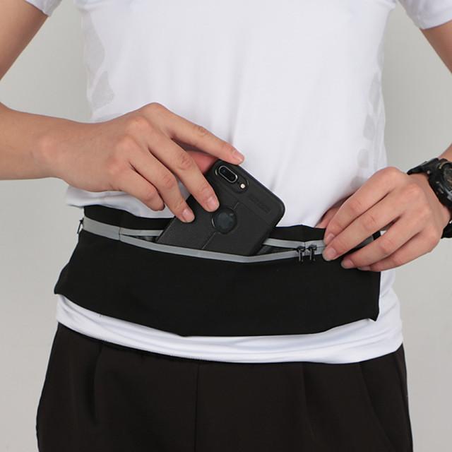 Running Belt Fanny Pack Belt Pouch / Belt Bag for Running Hiking Outdoor Exercise Traveling Sports Bag Reflective Adjustable Waterproof Nylon Fiber Men's Women's Running Bag Adults