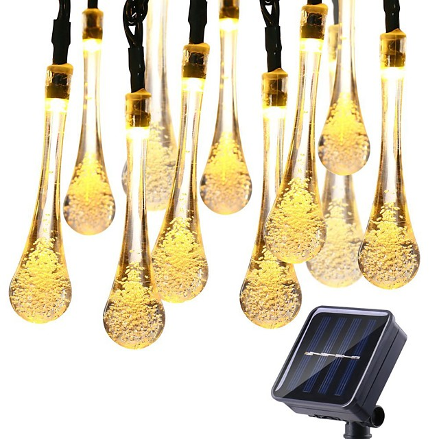 12M 100LED Solar Bulb LED Light String Droplet Bulbs Fairy String Lights Outdoor String Lights 8 Function Outdoor Waterproof For Wedding Garden Lawn Decoration Solar Lamp