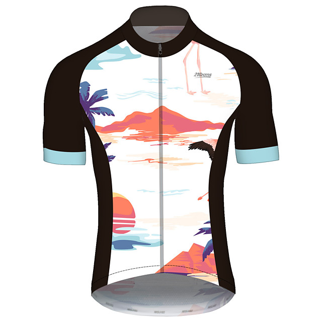 21Grams Men's Short Sleeve Cycling Jersey Spandex Polyester White Bike Jersey Top Mountain Bike MTB Road Bike Cycling UV Resistant Breathable Quick Dry Sports Clothing Apparel / Stretchy / Race Fit