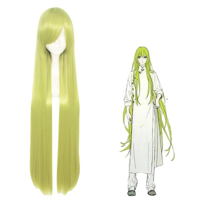 TouHou Project Cirno Cosplay Wigs Women's Side bangs 28 inch Heat Resistant Fiber Straight Green Teen Adults' Anime Wig