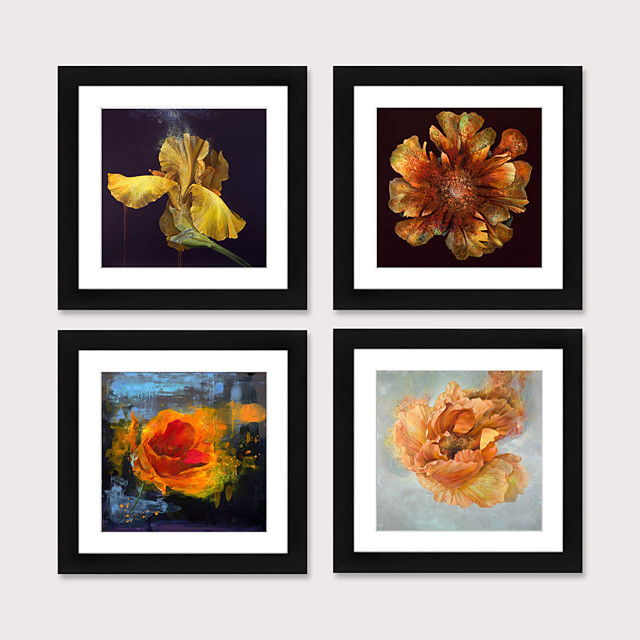 Framed Art Print Framed Set 4 - American Idyllic Adornment Picture French Country Brief Beautiful Dining-Room Mural Porch Bedroom Head of a Bed Flower Hangs Picture PS Illustration Wall Art