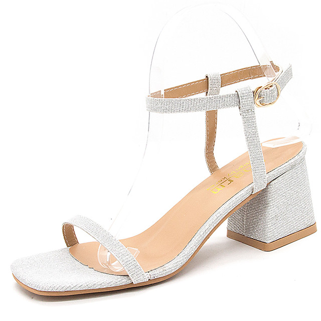Women's Heels / Sandals 2020 Spring &  Fall / Spring & Summer Chunky Heel Open Toe Classic Sexy Wedding Party & Evening PU Black / Gold / Silver