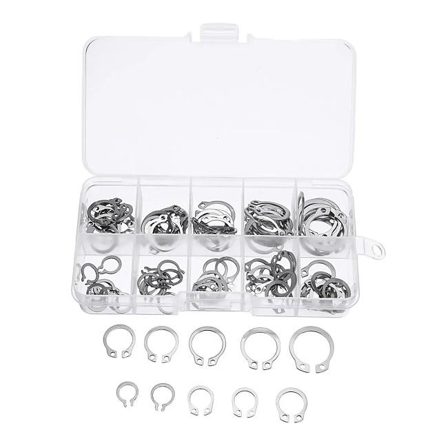 100Pcs Stainless C-Type Circlip Retaining Snap Ring Circlip Assortment Kit  Box