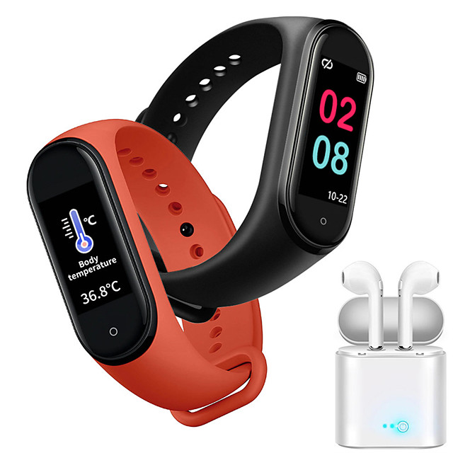 JSBP M4 Women Smart Bracelet Termometer Smartwatch BT Fitness Equipment Monitor Waterproof with TWS Bluetooth HeadsetTake Body Temperature for Android Samsung/Huawei/Xiaomi iOS Mobile Phone