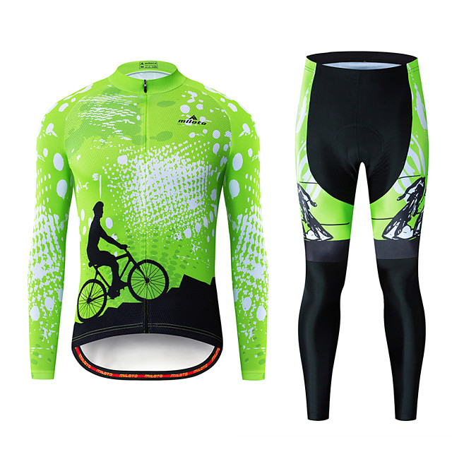 Miloto Men's Long Sleeve Cycling Jersey with Tights Black / Green Bike Breathable Sports Patterned Mountain Bike MTB Road Bike Cycling Clothing Apparel / Stretchy