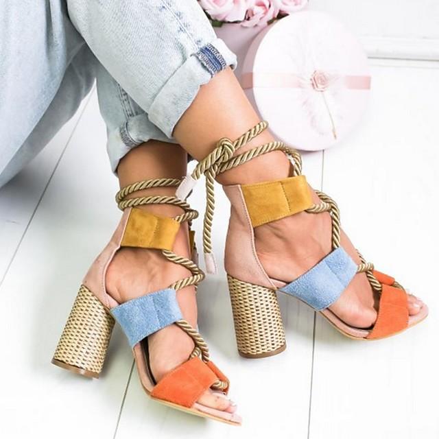 Women's Sandals Summer Cuban Heel Open Toe Daily PU Yellow / Pink / Orange