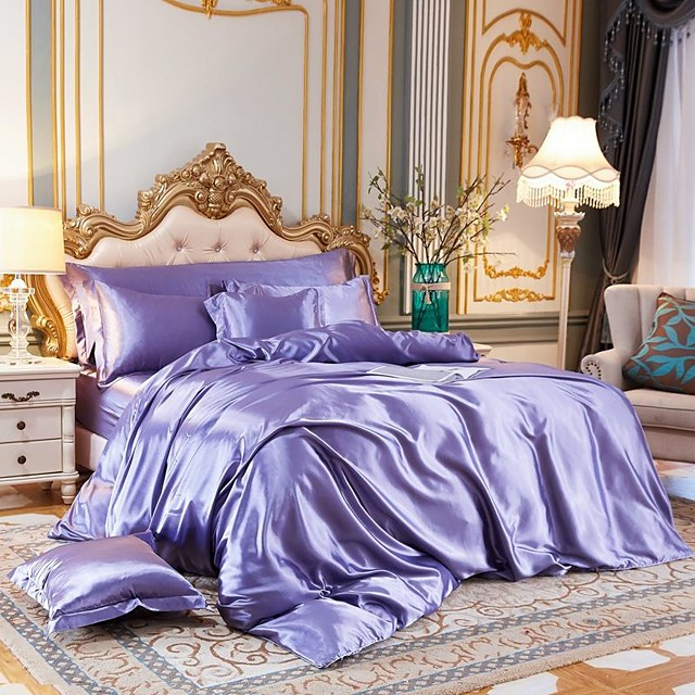 4-Piece Imitated Silk Fabric Duvet Cover Set,Luxury Satin Bedding Sets Include 1 Duvet Cover, 1 Flat Sheet, 2 Shams