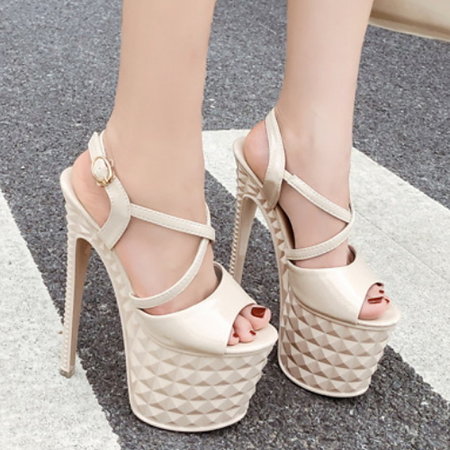 Women's Sandals Heel Sandals Platform Sandal Summer Platform Peep Toe Daily PU Almond / White / Black