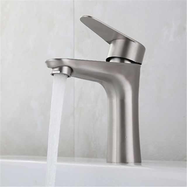 Stainless steel single hole basin faucet basin under the table hot and cold mixing basin faucet without hose