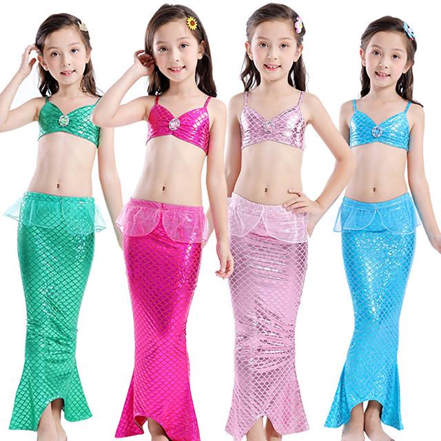 The Little Mermaid Princess Dress Flower Girl Dress Girls' Movie Cosplay A-Line Slip Purple / Fuchsia / Green Skirt Bra Briefs Children's Day Masquerade Satin / Tulle