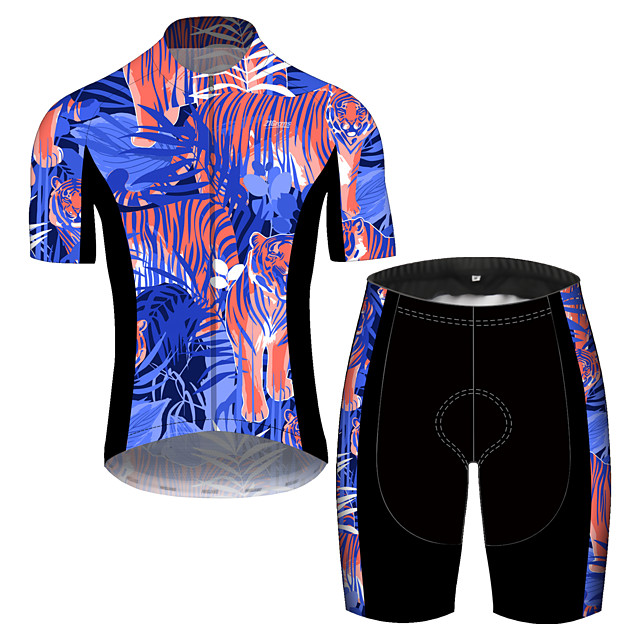 21Grams Men's Short Sleeve Cycling Jersey with Shorts Spandex Polyester Purple Oktoberfest Beer Bike Clothing Suit UV Resistant Quick Dry Sports Solid Color Mountain Bike MTB Road Bike Cycling