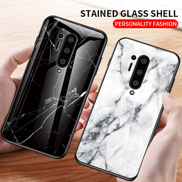 Marble Tempered Glass Shockproof Protection Cover Phone Case For OnePlus 8 Pro OnePlus 7T Pro One Plus 7 Pro OnePlus 6T One Plus 6 Soft TPU Bumper Protect