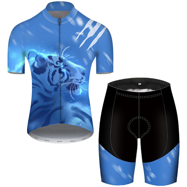 21Grams Men's Short Sleeve Cycling Jersey with Shorts Nylon Polyester Black / Blue Galaxy Animal Tiger Bike Clothing Suit Breathable Quick Dry Ultraviolet Resistant Reflective Strips Sweat-wicking