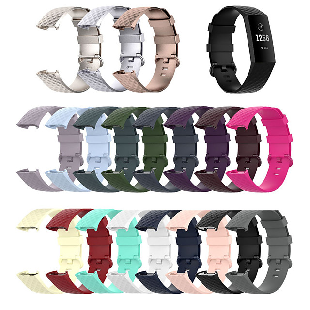 Watch Band for Fitbit Charge 3 / Fitbit Charge 4 Fitbit Sport Band / Classic Buckle Silicone Wrist Strap