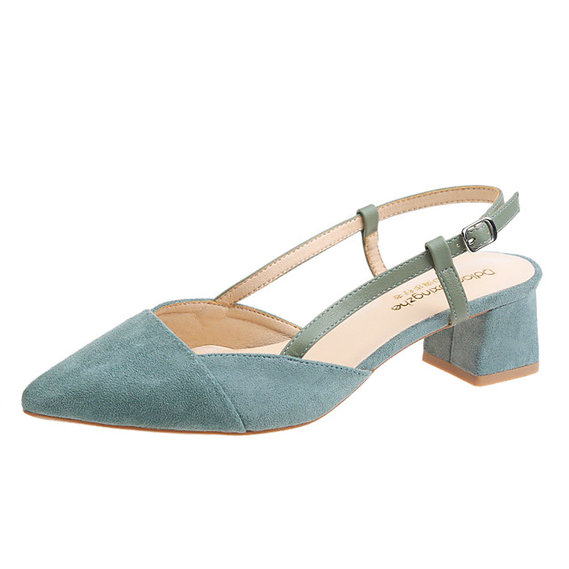 Women's Sandals 2020 Spring & Summer / Fall & Winter Chunky Heel Pointed Toe Sweet Minimalism Daily Party & Evening Buckle Solid Colored Suede Black / Green / Beige