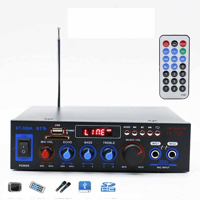 Power Amplifier Digital Audio Stereo Hi-Fi 50+50 2.0 BT-309A 80 for Car Home Theater Speakers DIY