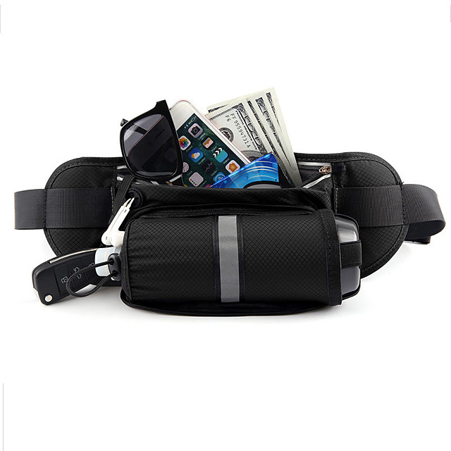 Running Belt Fanny Pack Belt Pouch / Belt Bag for Running Hiking Outdoor Exercise Traveling Sports Bag Reflective Adjustable Waterproof with Water Bottle Holder Bonded Nylon Men's Women's Running Bag