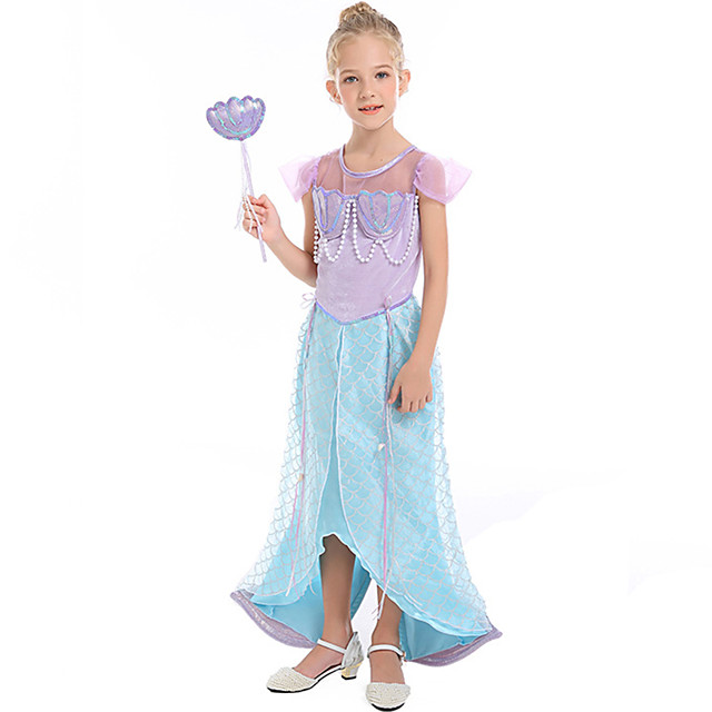 The Little Mermaid Dress Flower Girl Dress Girls' Movie Cosplay A-Line Slip Light Blue Dress Children's Day Masquerade Satin / Tulle Polyster