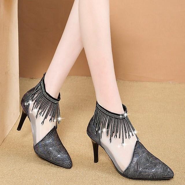 Women's Boots Summer Stiletto Heel Pointed Toe Daily PU Black / White / Black