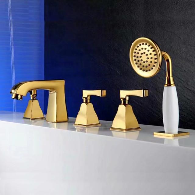 Bathtub Faucet - Contemporary Ti-PVD Tub And Shower Ceramic Valve Bath Shower Mixer Taps