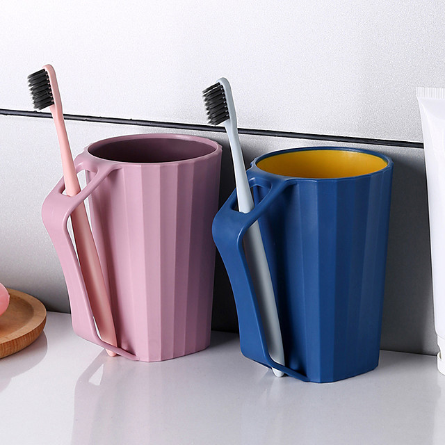 1 PC  Bathroom Tumblers Brushing Cup with Handle Bathroom Accessory Tooth Cup Couple Lovers Family Use