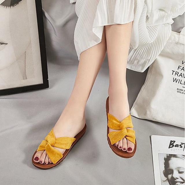 Women's Sandals Flat Sandals Summer Flat Heel Open Toe Daily Suede Black / Yellow / Beige