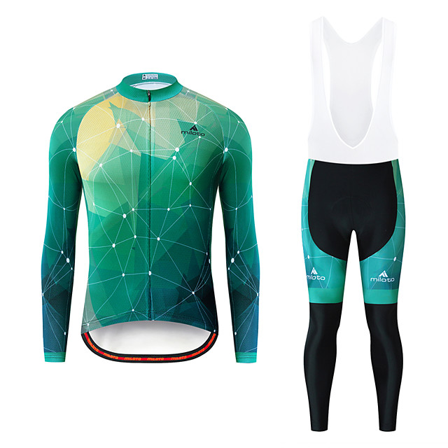 Miloto Men's Long Sleeve Cycling Jersey with Bib Tights White Black Bike Breathable Sports Patterned Mountain Bike MTB Road Bike Cycling Clothing Apparel / Stretchy