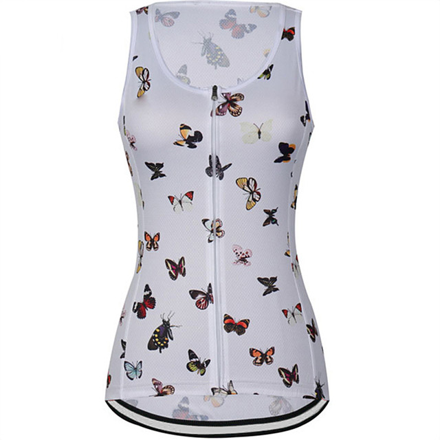 21Grams Women's Sleeveless Cycling Jersey Cycling Vest Summer Spandex Polyester White Yellow Butterfly Bike Jersey Top Mountain Bike MTB Road Bike Cycling UV Resistant Quick Dry Breathable Sports