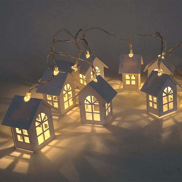Christmas Lights Mini House Shape 10 LEDs Copper Wired Light Strips for Wedding Christmas Party Patio Fairy String Light