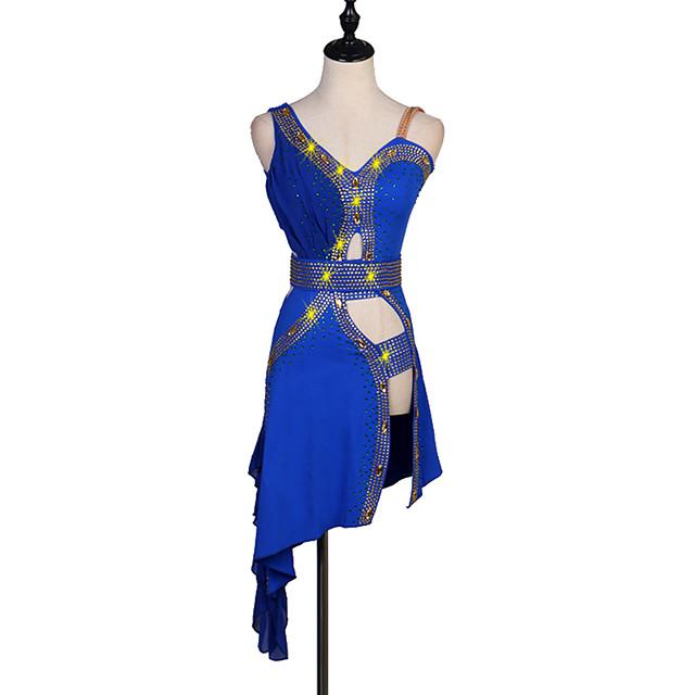 Latin Dance Dress Crystals / Rhinestones Women's Performance Sleeveless Spandex