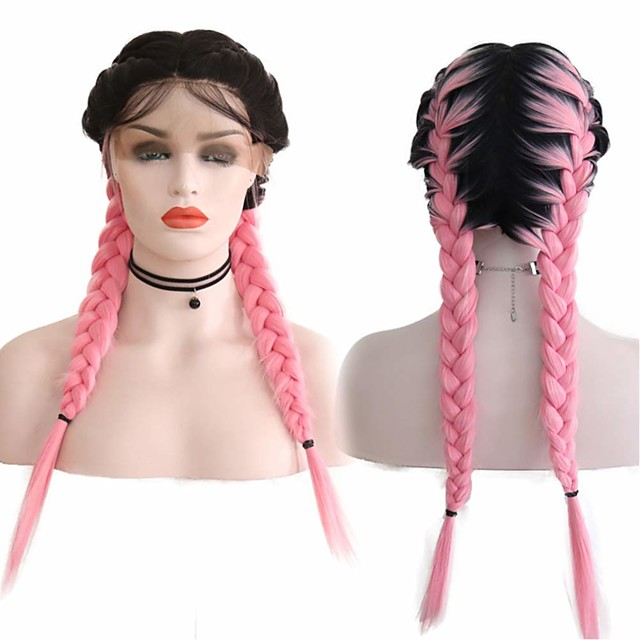 Synthetic Lace Front Wig Box Braids Middle Part with Baby Hair Lace Front Wig Pink Ombre Long Ombre Pink Synthetic Hair 18-26 inch Women's Soft Adjustable Party Pink Ombre