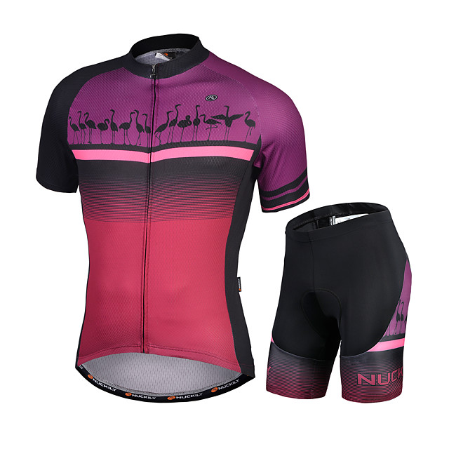 Nuckily Men's Short Sleeve Cycling Jersey with Shorts Purple Animal Bike Quick Dry Sports Animal Road Bike Cycling Clothing Apparel