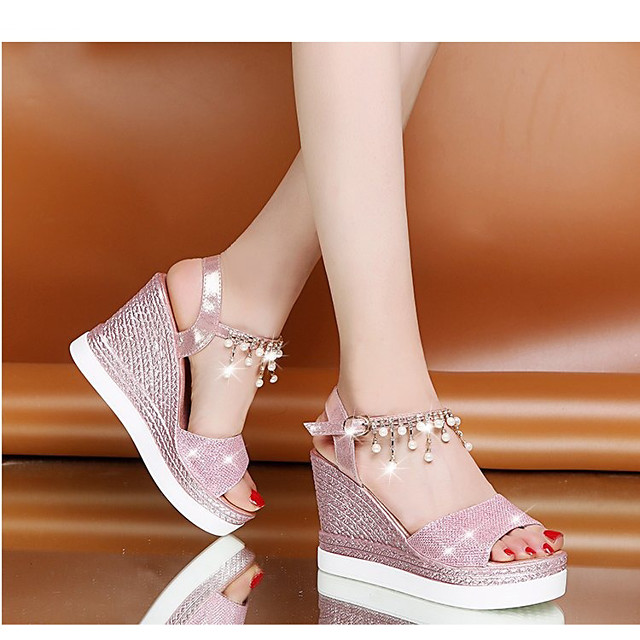 Women's Sandals Wedge Sandals Summer Wedge Heel Round Toe Daily PU Pink / Gold / Silver