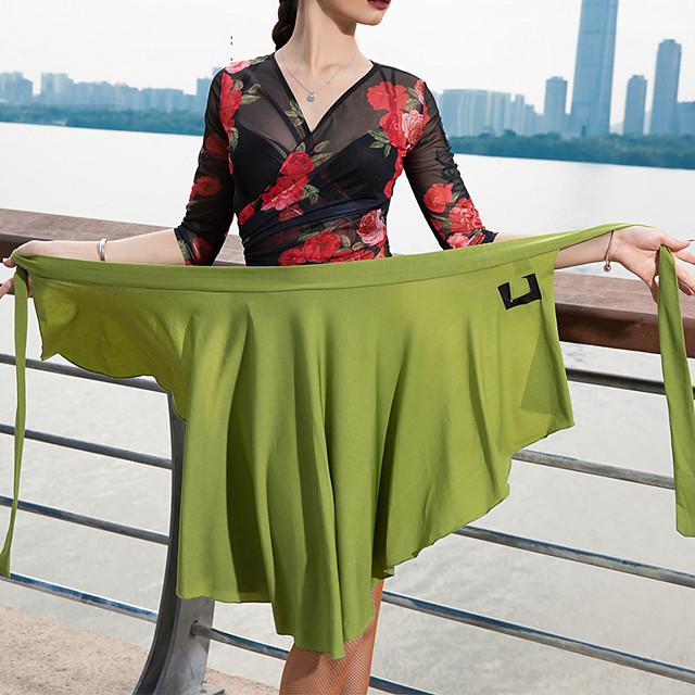 Latin Dance Skirts Pleats Women's Performance Dropped Crystal Cotton