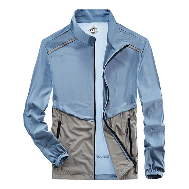 Men's Hiking Skin Jacket Hiking Jacket Summer Outdoor Windproof Sunscreen Breathable Quick Dry Jacket Top Elastane Single Slider Running Hunting Fishing Dark Grey / White / Black / Light Grey / Blue