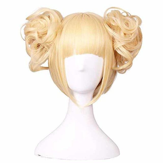 Synthetic Wig Curly With Bangs Wig Long Blonde Synthetic Hair 14 inch Women's Anime Adorable curling Blonde