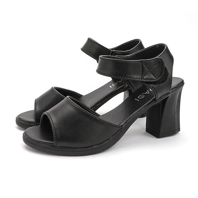 Women's Sandals Summer Block Heel Open Toe Casual Daily PU Black