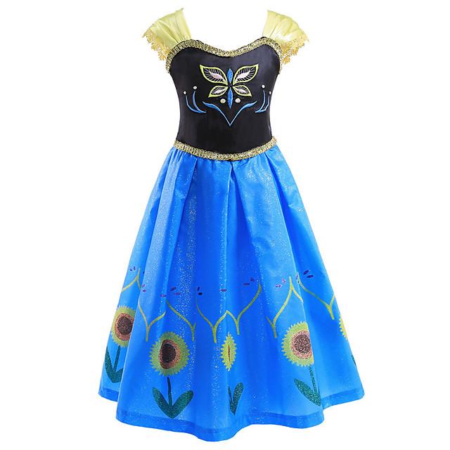 Princess Anna Dress Flower Girl Dress Girls' Movie Cosplay A-Line Slip Blue Dress Children's Day Masquerade Polyester