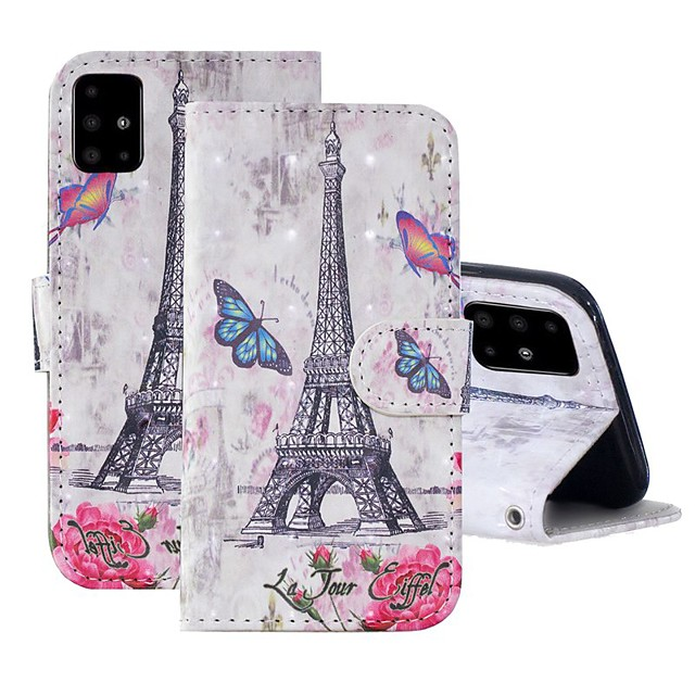Case For Samsung Galaxy A51/ Galaxy A20e / Galaxy Note 10 Plus Wallet / Card Holder / with Stand Full Body Cases Eiffel Tower PU Leather For Galaxy A71/A10S/A20S/M30S/A2 Core/A10E